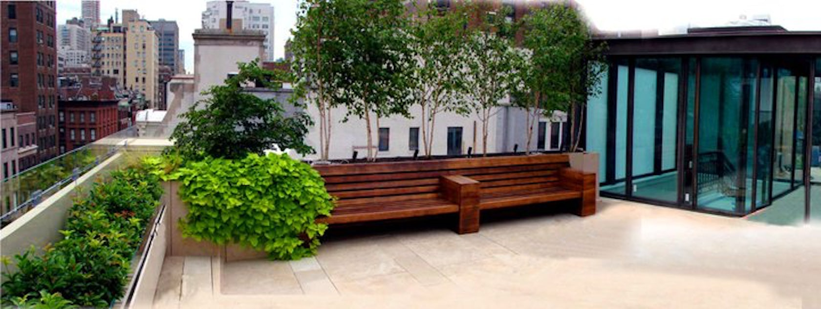 Nyc roof deck park avenue terrace with limestone patio for Decking terrace garden