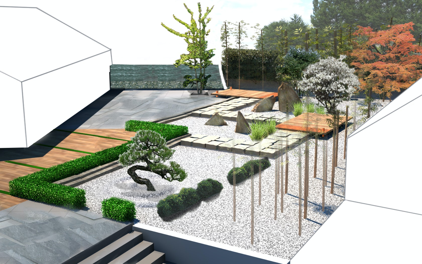 Contemporary japanese garden architizer for Contemporary japanese garden