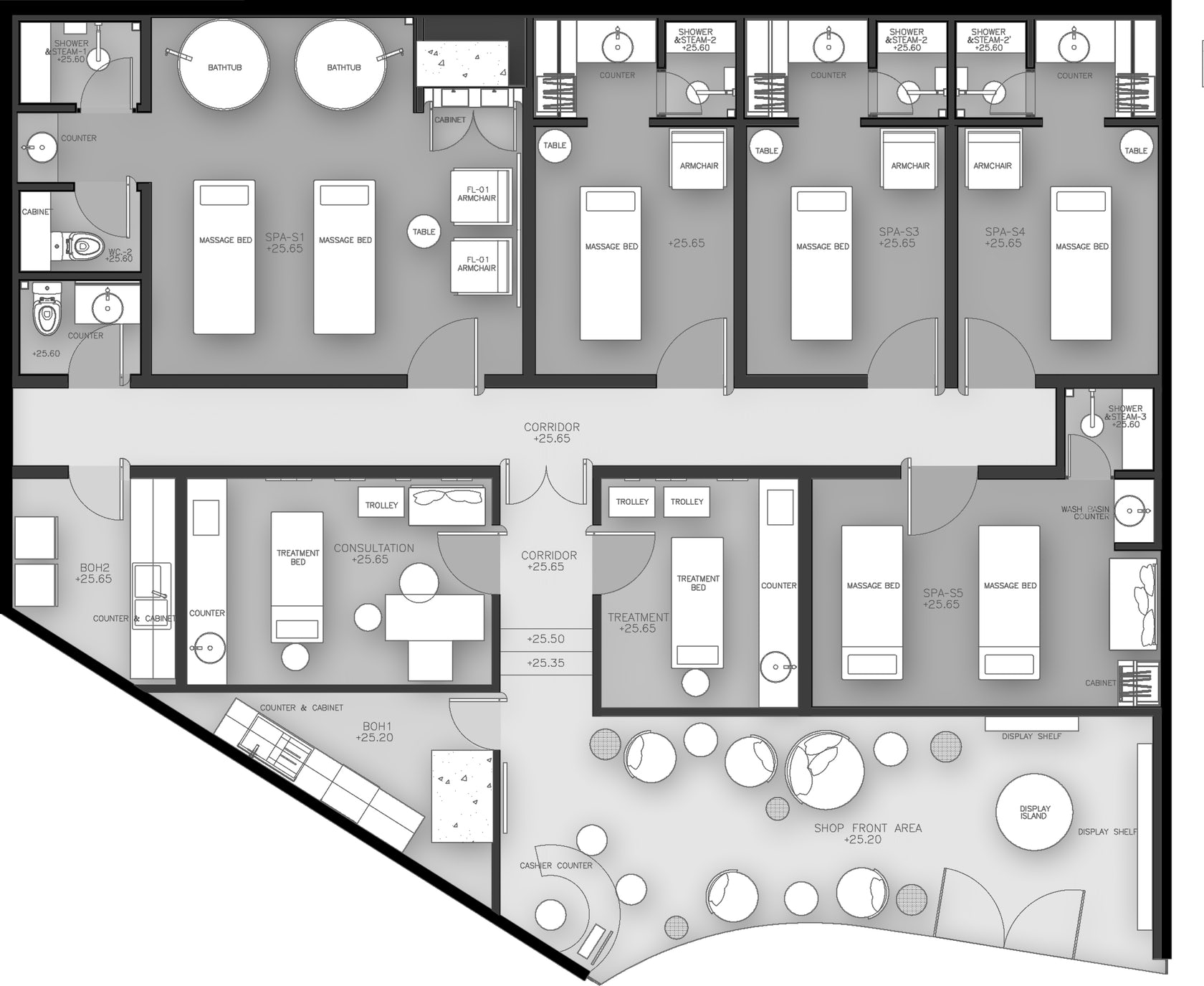 Dii wellness med spa architizer for Spa floor plan design
