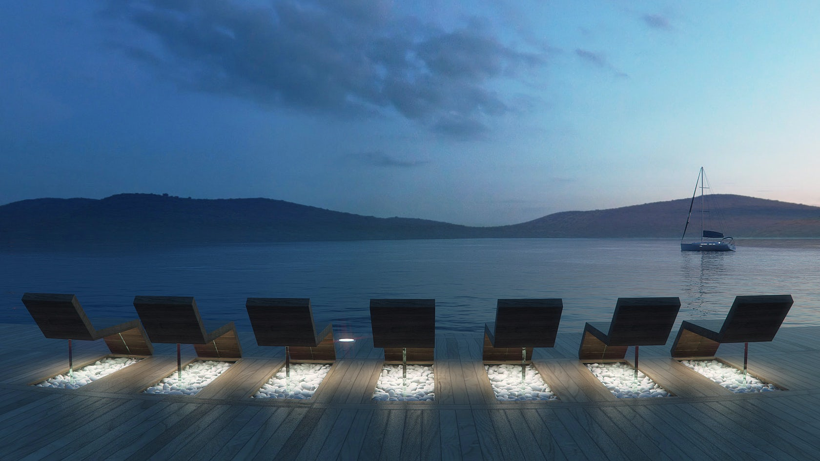 Proposed architectural study for the square and the harbor for Design hotel crete
