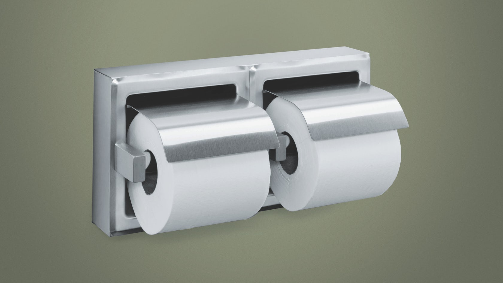 Recessed stainless steel double toilet tissue holder with hood architizer - Recessed toilet paper dispenser ...