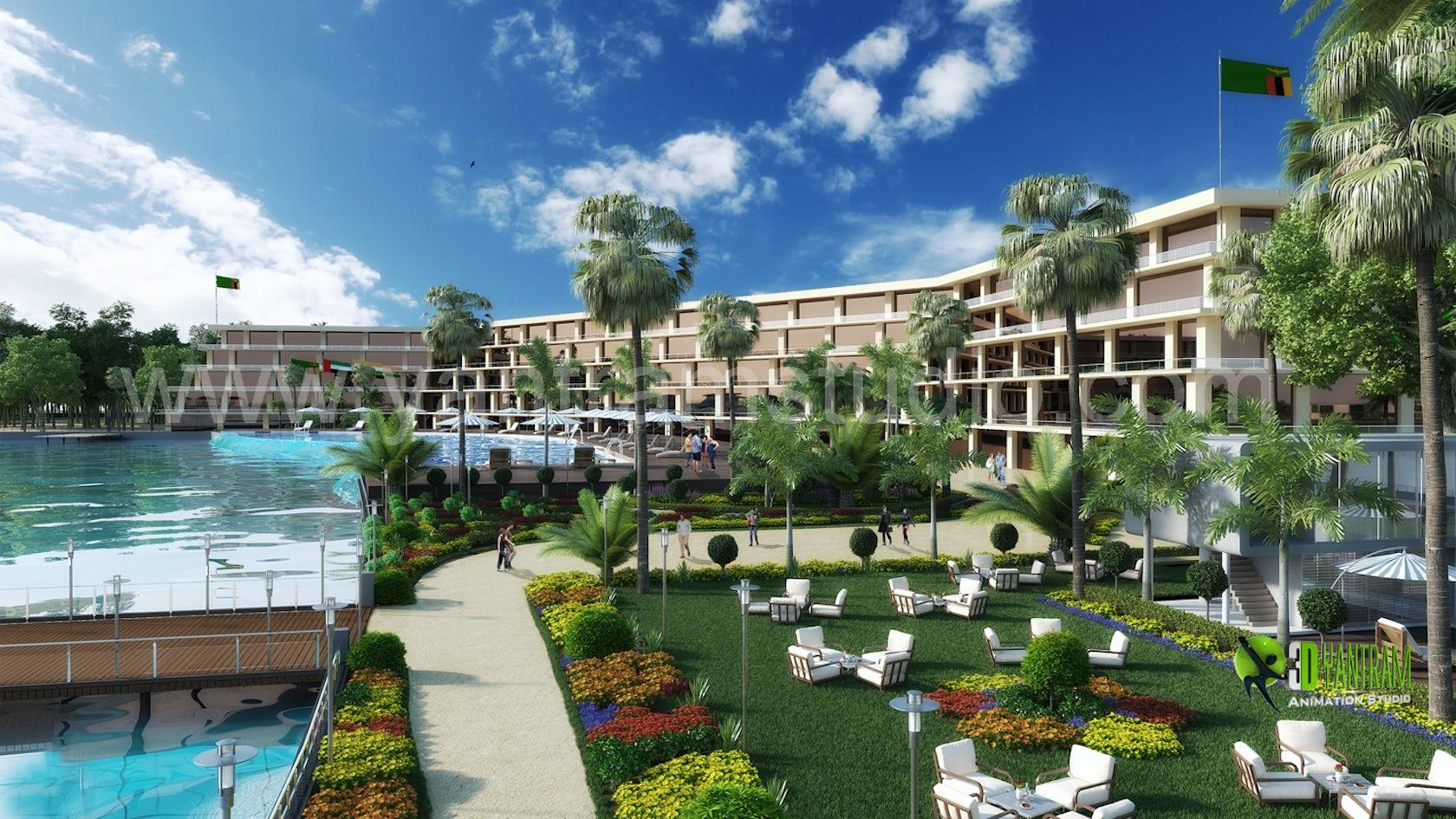 3d hotel resort exterior design architizer for Design hotel 3d