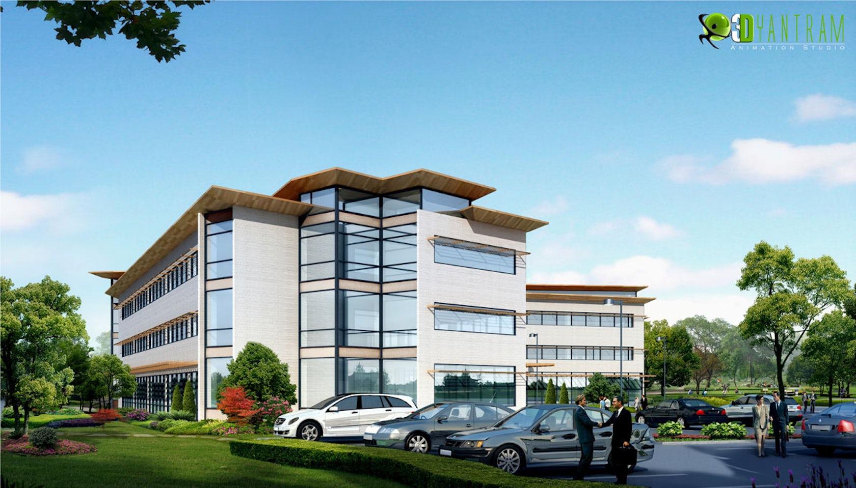 3d office exterior design architizer for Office building exterior design