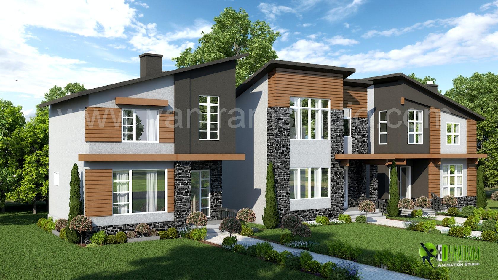 3d exterior residential rendering design architizer for Exterior 3d rendering