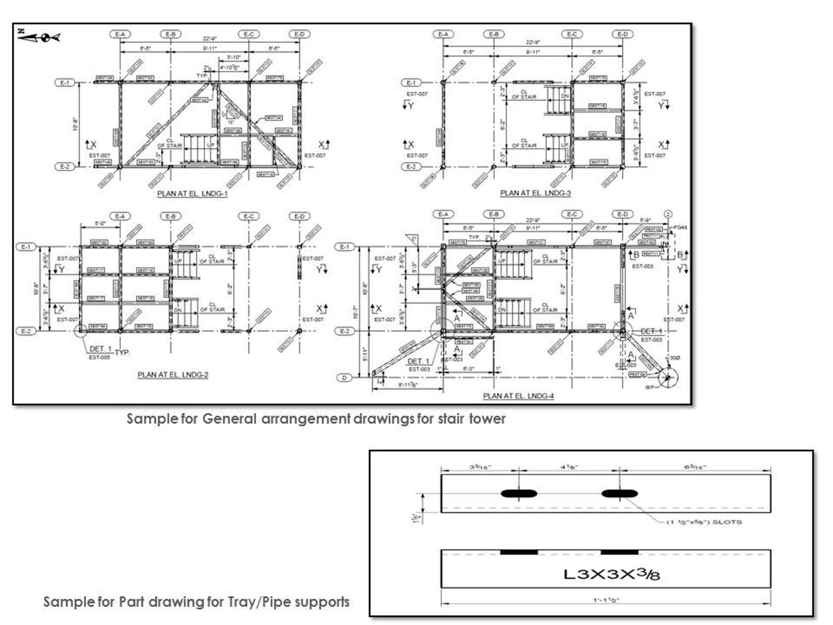 Structural Steel Detailing for Pipe and Tray Supports of