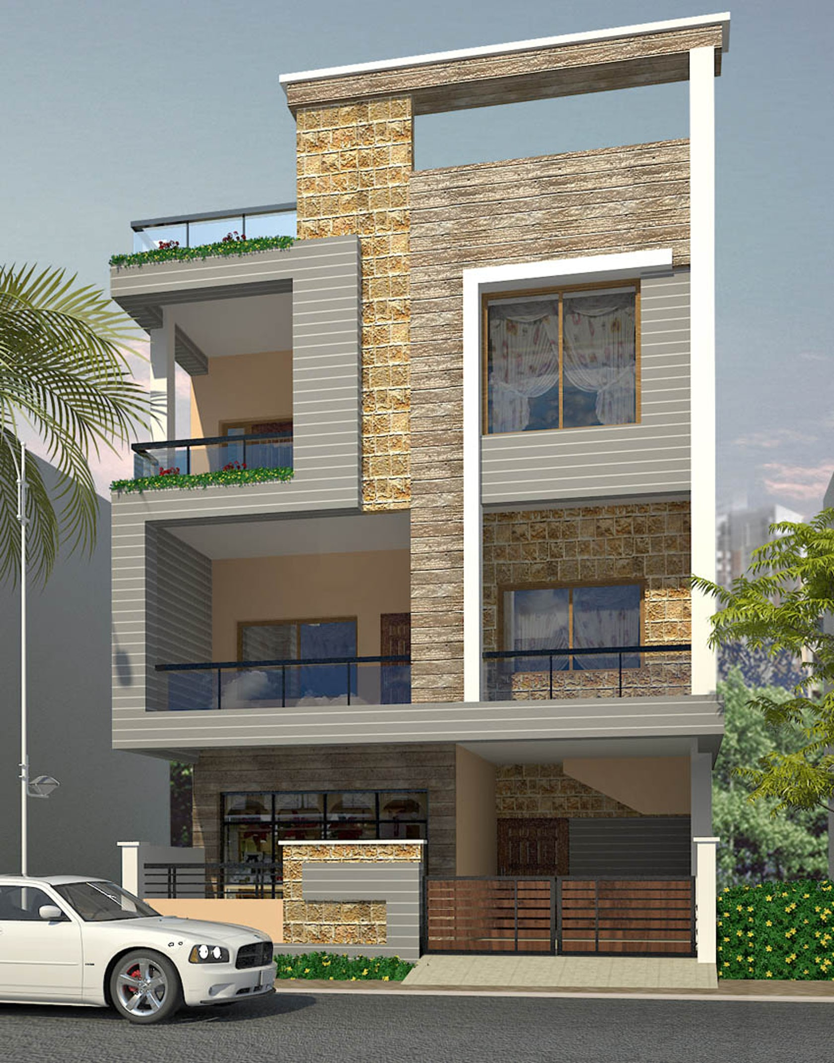 Front Elevation Two Storey Building In Hyderabad : Box pattern exterior architizer