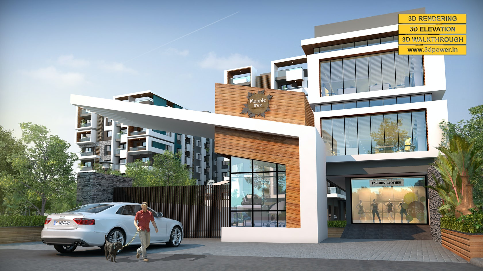 3d residential apartment exterior elevation day night for Apartment design development pvt ltd