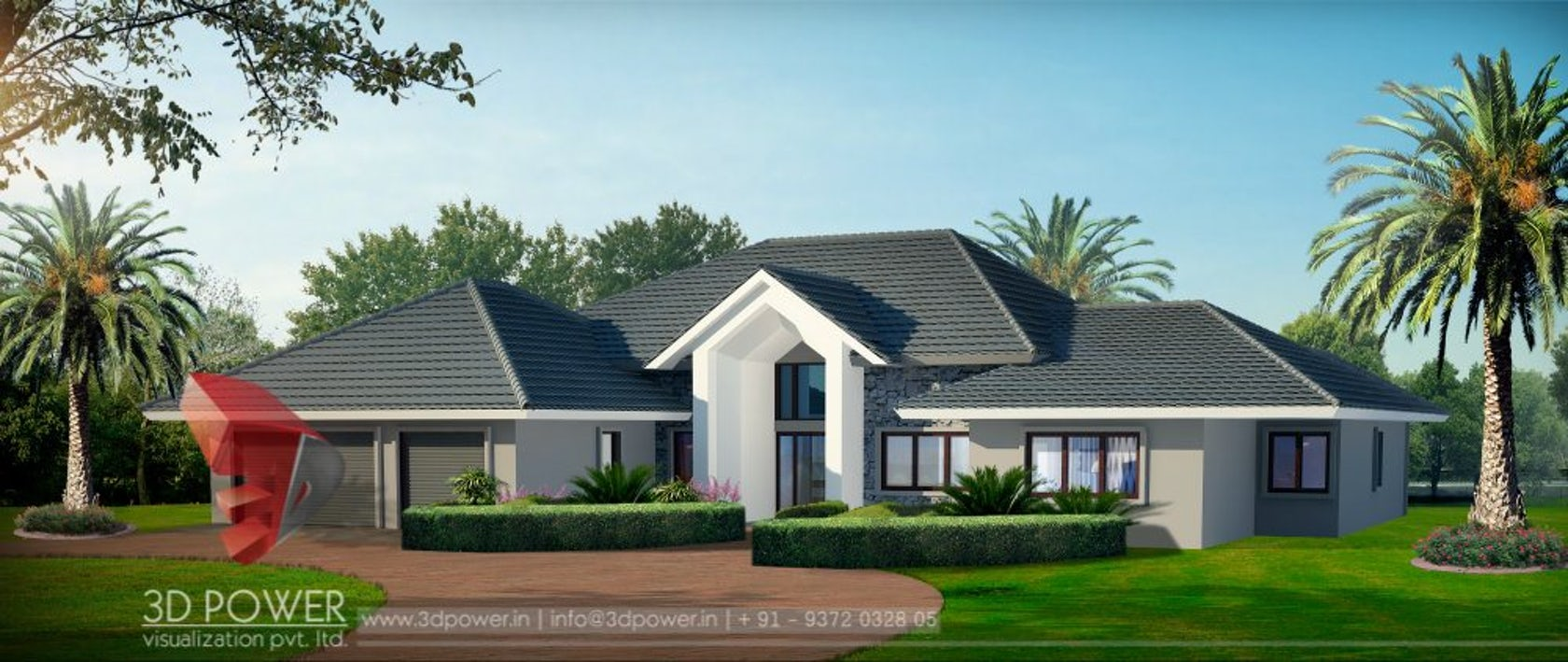 American 3d modern bungalow exterior rendering and for Bungalow exterior design