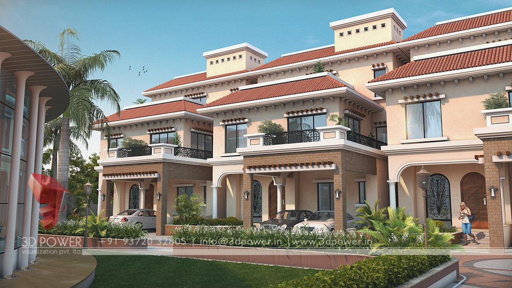 Elegant 3d Township Exterior Day Renderings And Landscape