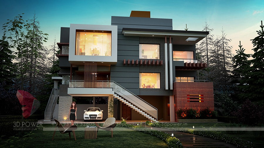 Bungalow Modern luxurious 3d modern bungalow rendering elevation design by 3d