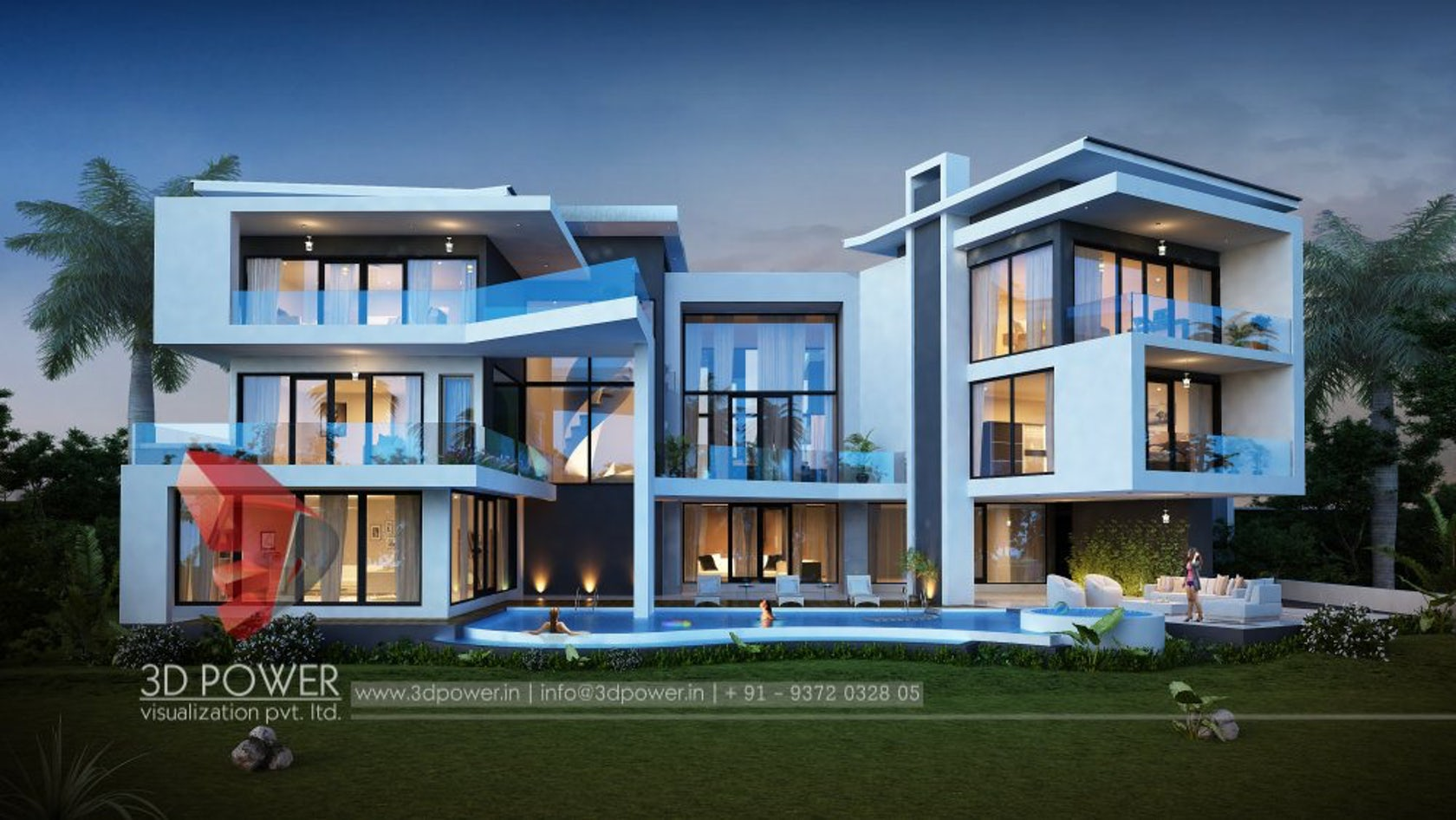 Luxurious 3d Modern Bungalow Rendering Elevation Design