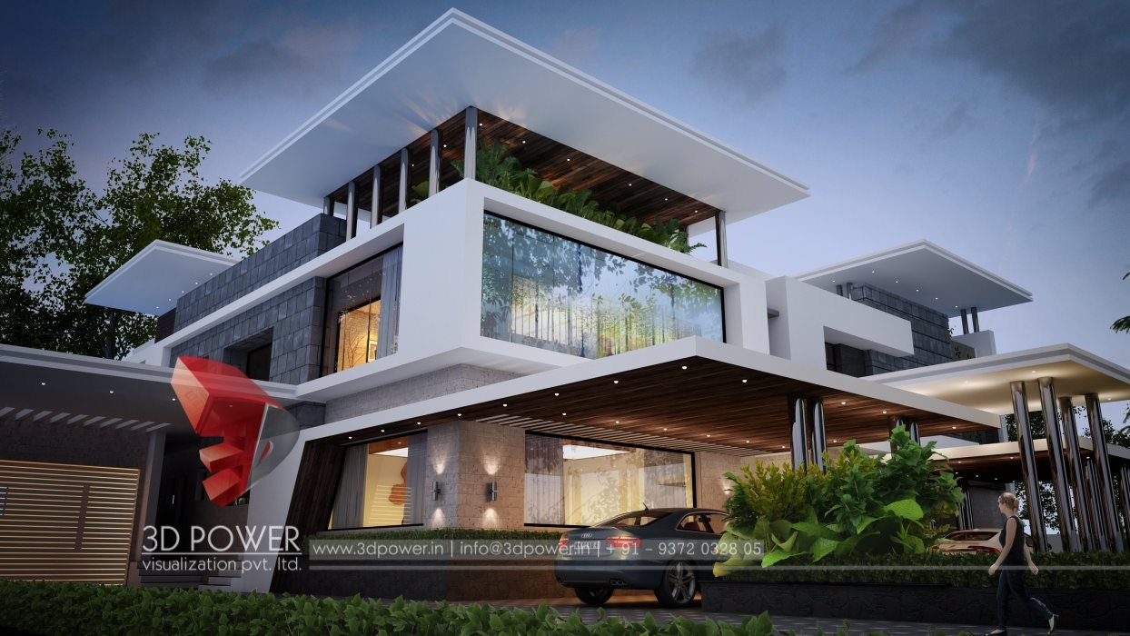 Luxurious 3D Modern Bungalow Rendering U0026 Elevation Design By 3D Power On  Architizer