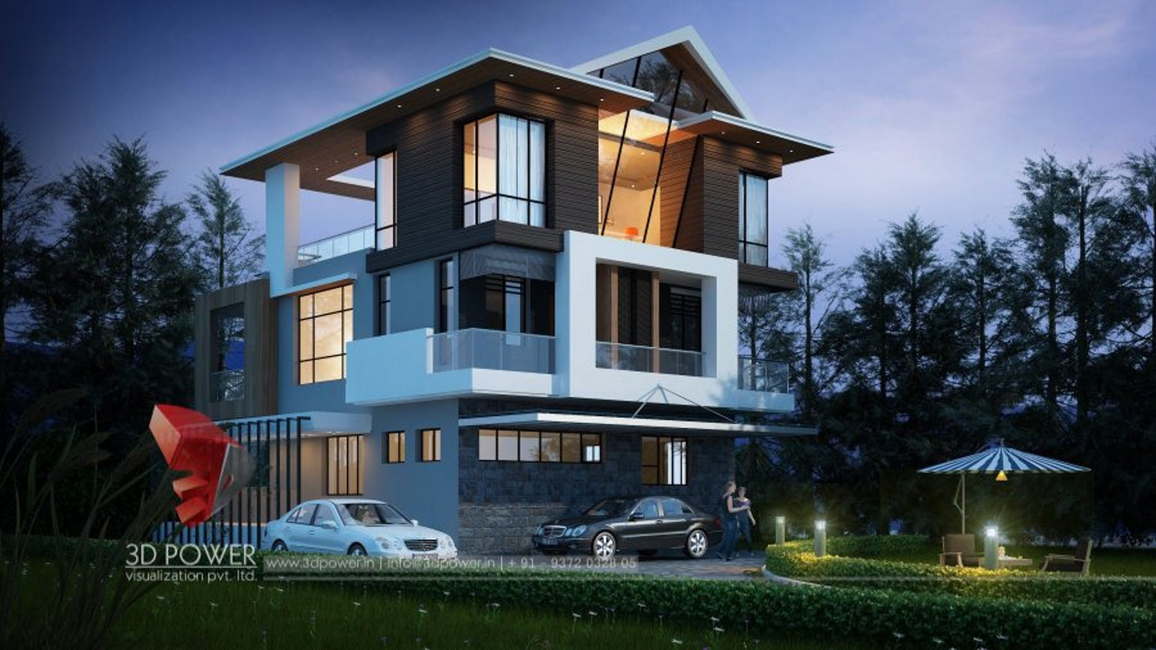luxurious 3d modern bungalow rendering elevation design by 3d power on architizer - Elevation Of Bungalow