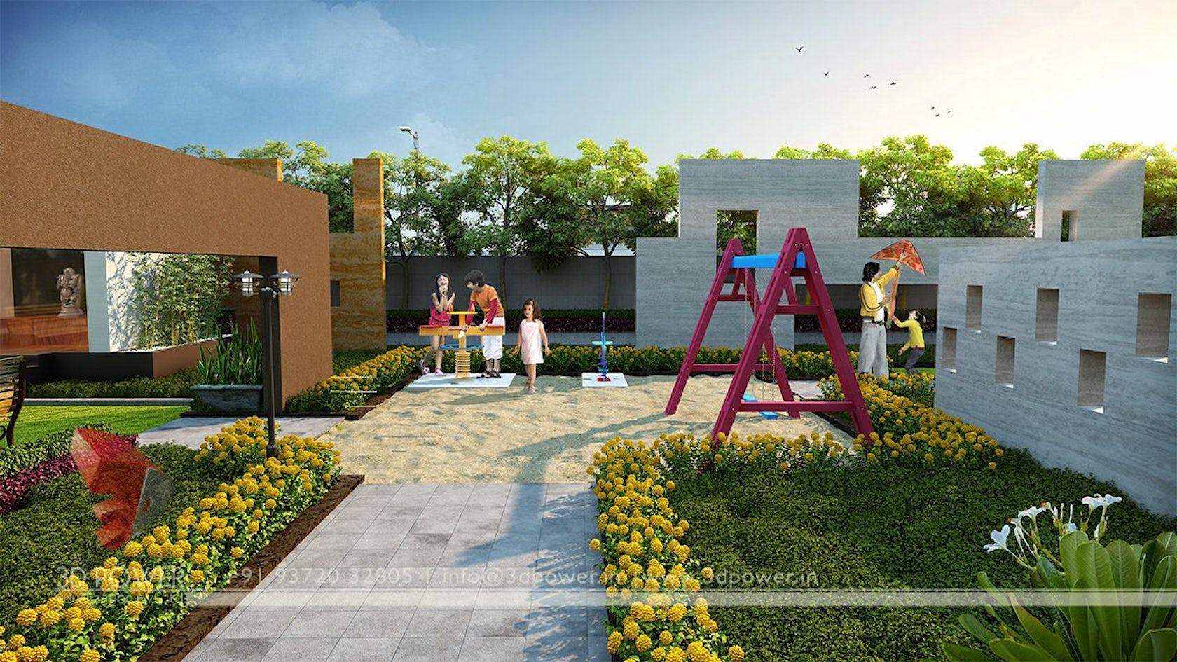 3d modern township exterior day rendering and elevation for Garden design visualiser