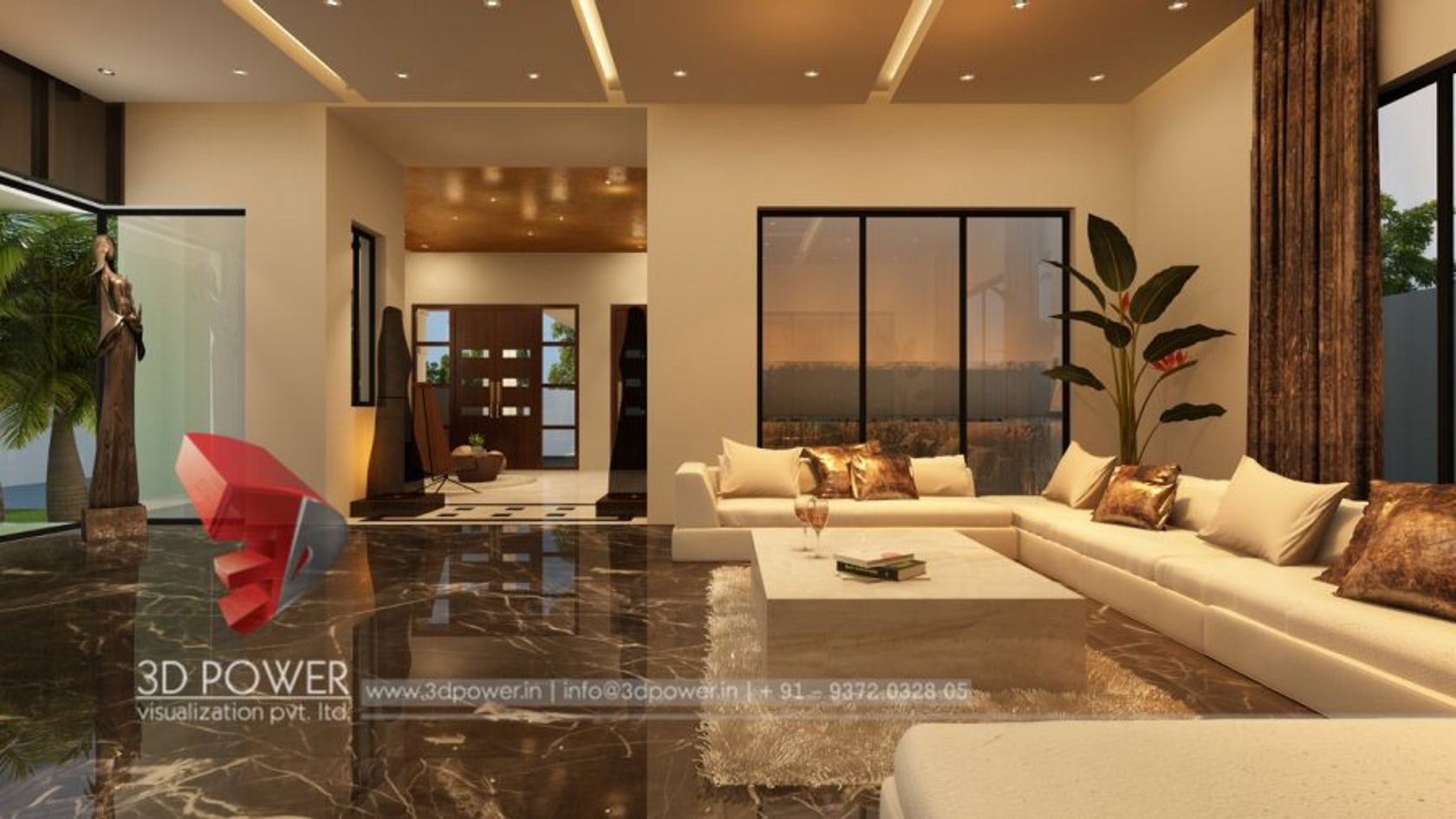 Classic 3D Modern Bungalow Interior Living & dining rendering design by 3D  Power on Architizer