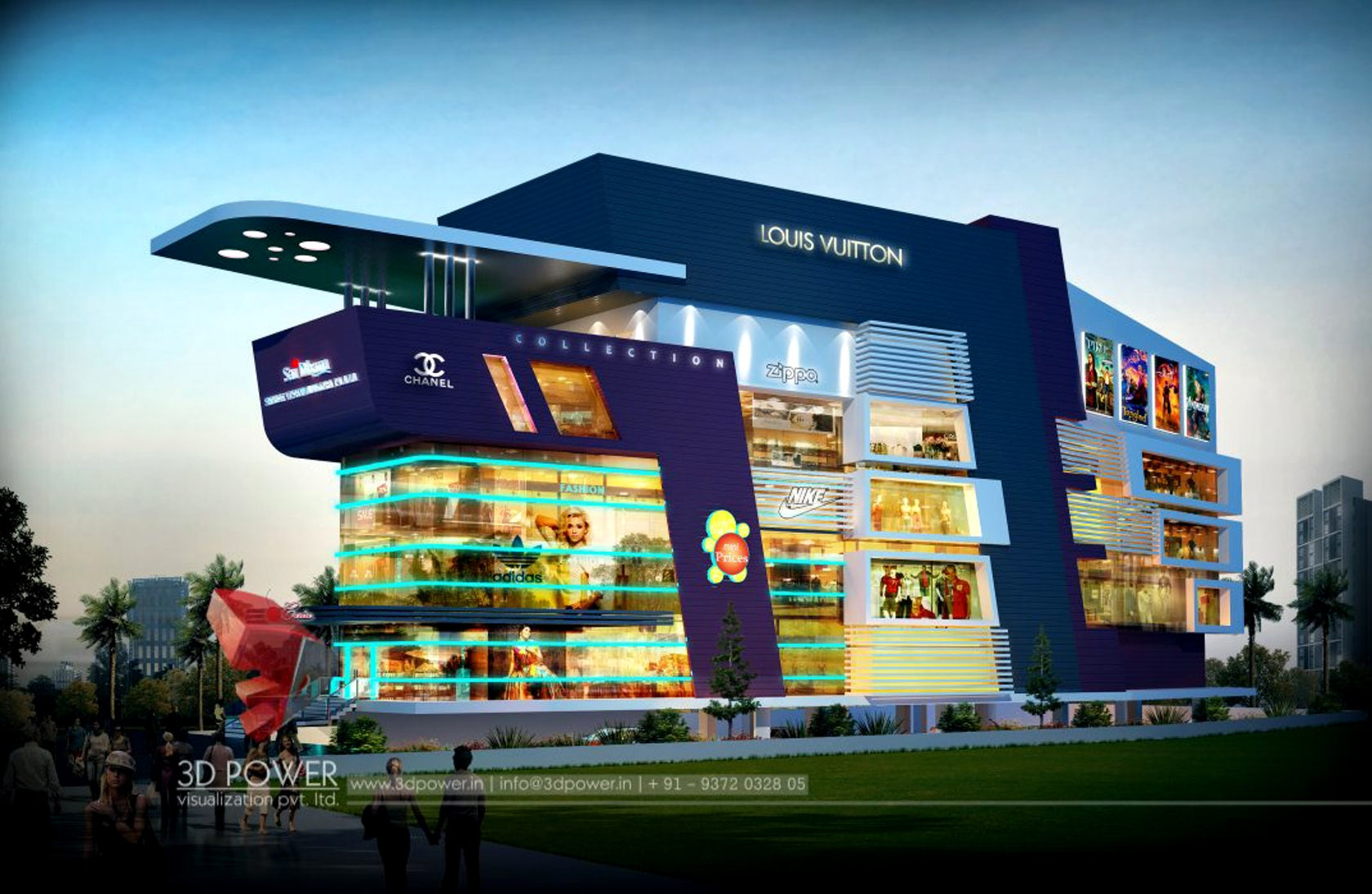 Superior 3d Shopping Mall Day Night Rendering And Elevation Design By 3d Power on Big House Floors Plan Designs