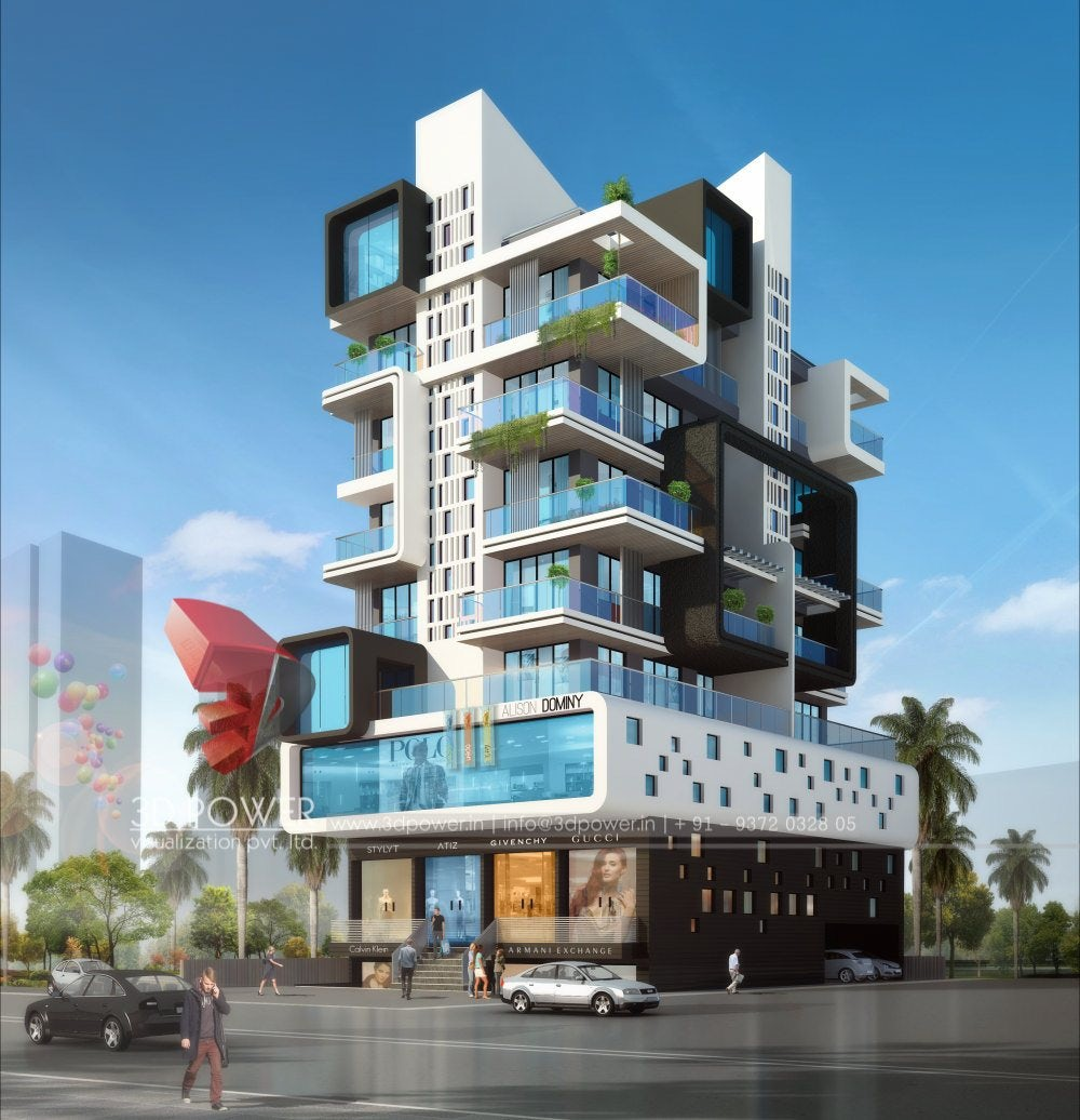 High Rise Apartment Design Exterior 3d ultramodern apartment exterior day rendering and elevation