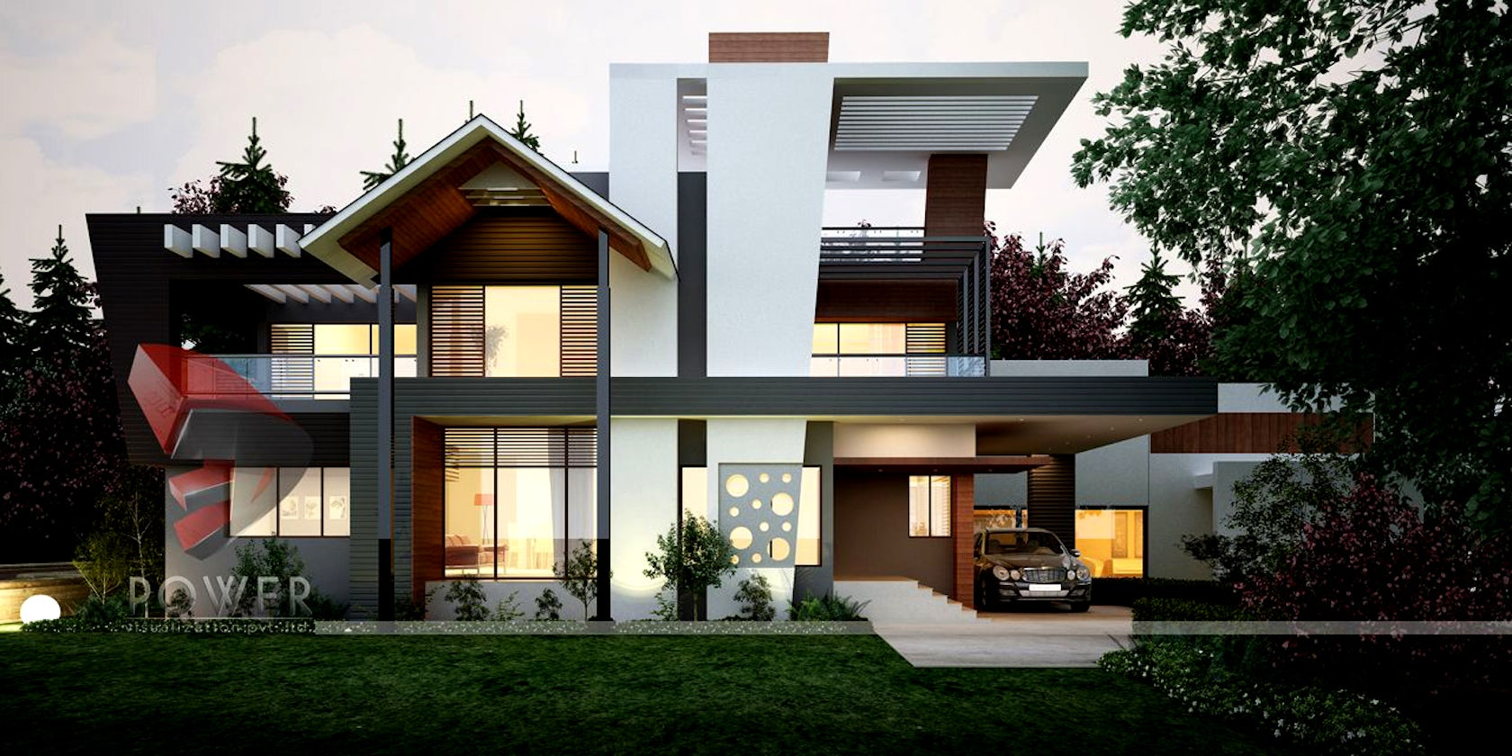 3d Modern Farm House Exterior Evening Rendering And