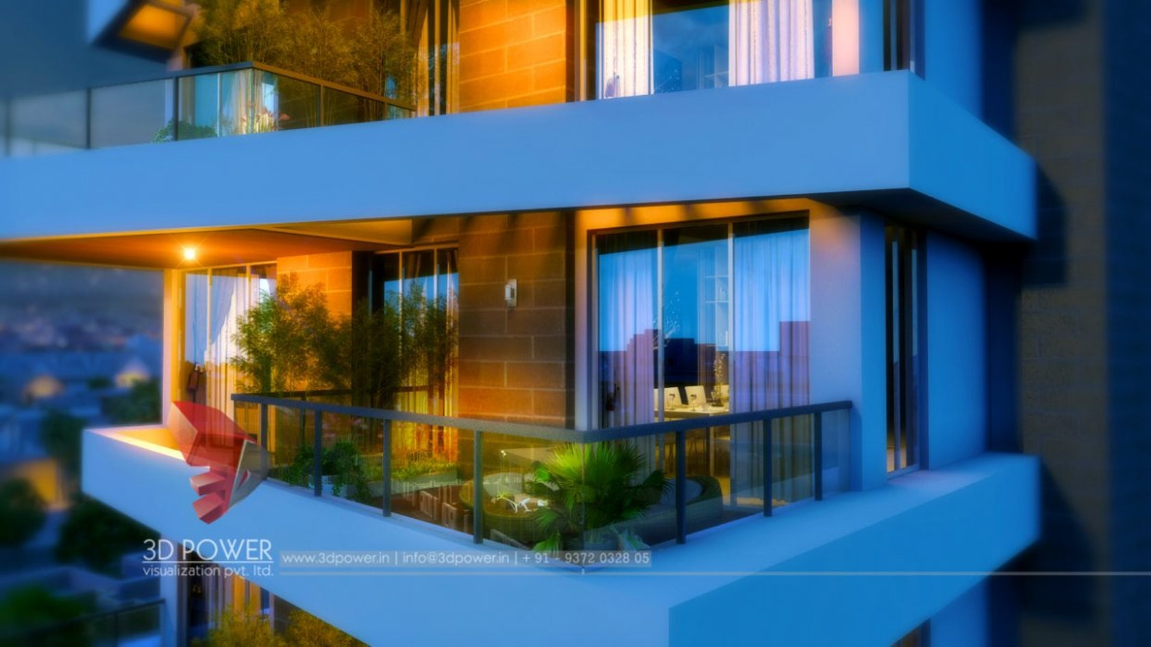 3d ultramodern interior and exterior rendering and for Apartment view design