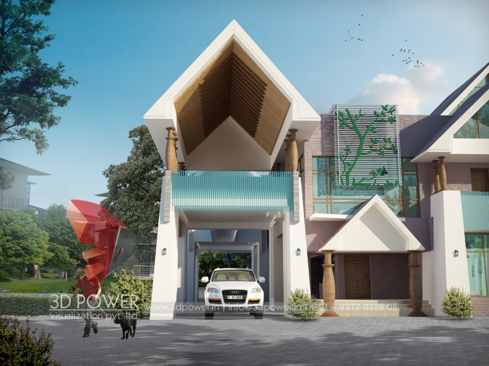 3d Sloping Roof Bungalow Day And Night Rendering