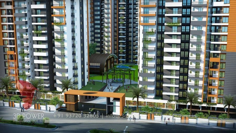 Apartment Design Elevation 3d apartment exterior day & night rendering and elevation design