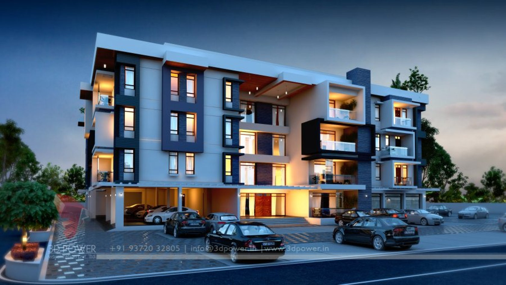 3d apartment exterior day night rendering and elevation for Apartment 3d