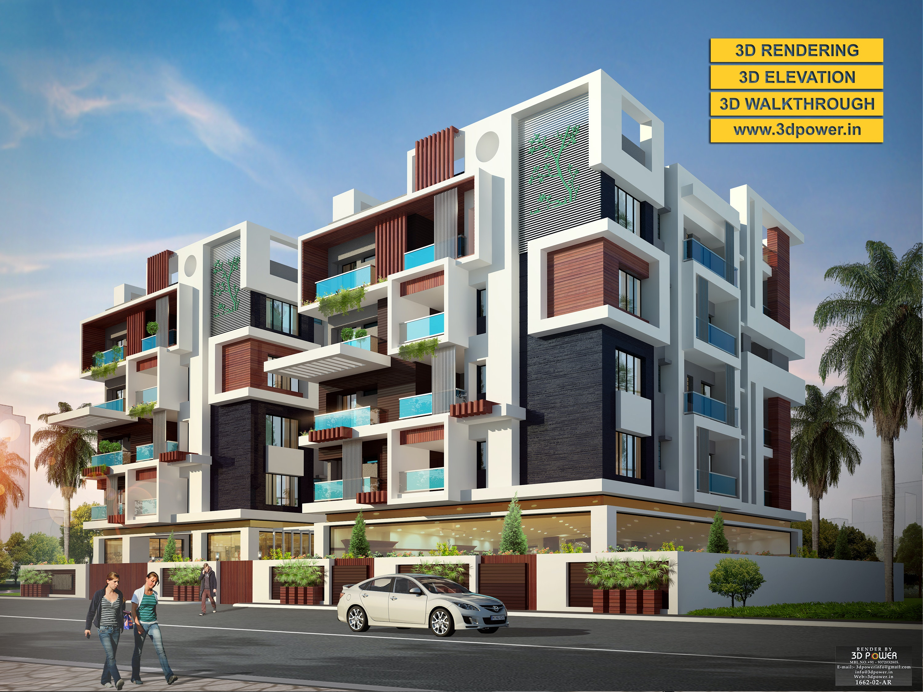 3D Apartment Exterior Day U0026 Night Rendering And Elevation Design By 3D Power  On Architizer