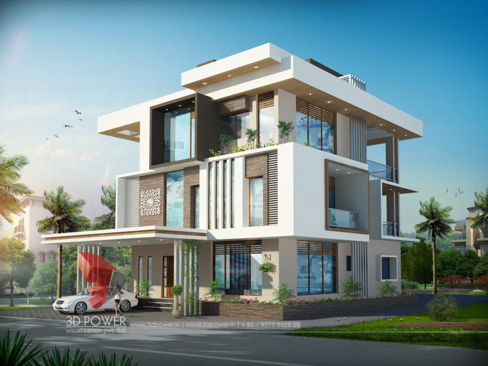 3d ultra modern bungalow exterior day rendering and for Bungalow house exterior design