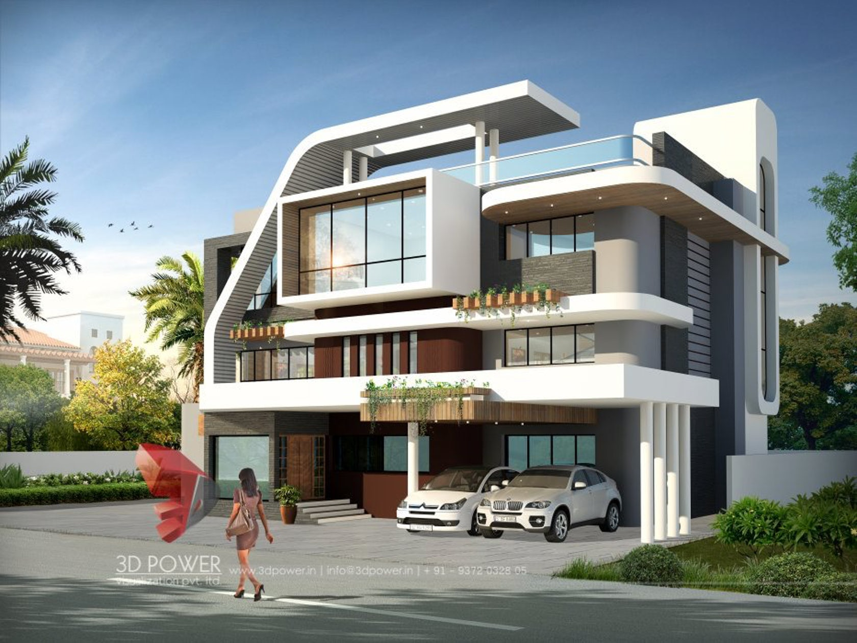 3d ultra modern bungalow exterior day rendering and for Singlex house design
