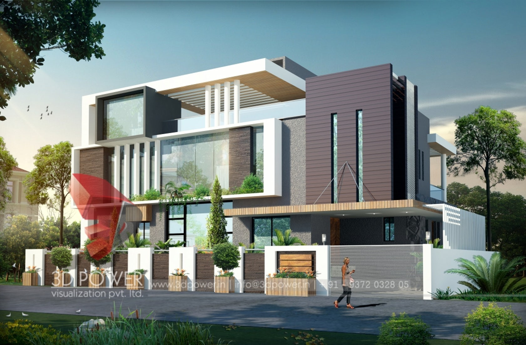 3d ultra modern bungalow exterior day rendering and for Modern villa exterior design