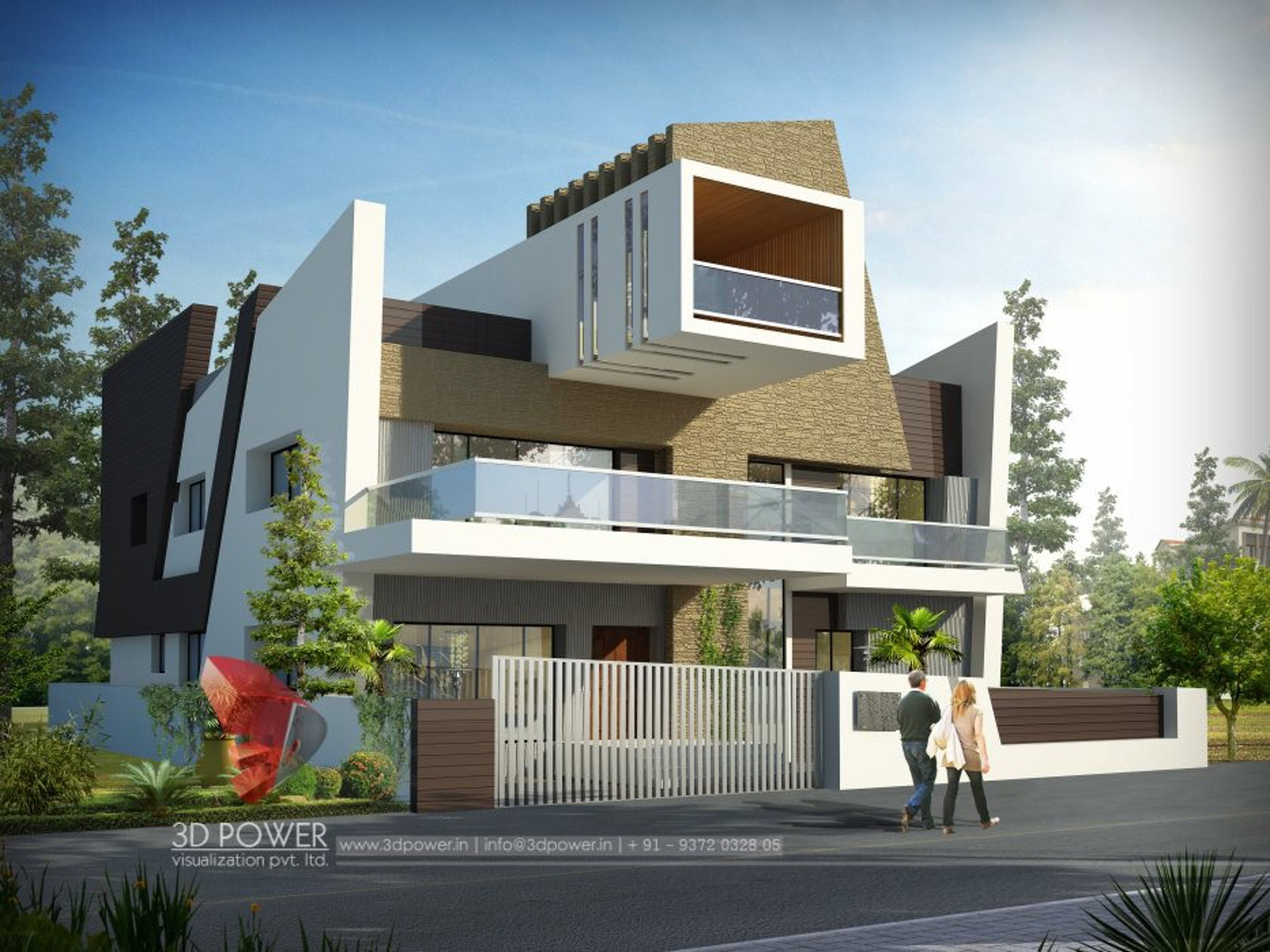 3d ultra modern bungalow exterior day rendering and Indian bungalow design