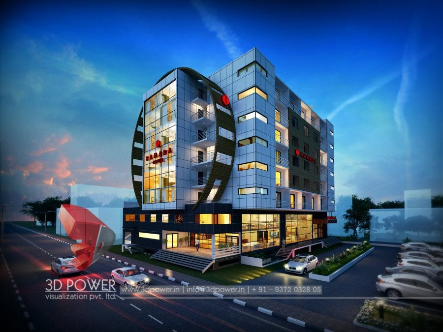 Spectacular 3d hotel exterior rendering and elevation design by 3d power on architizer