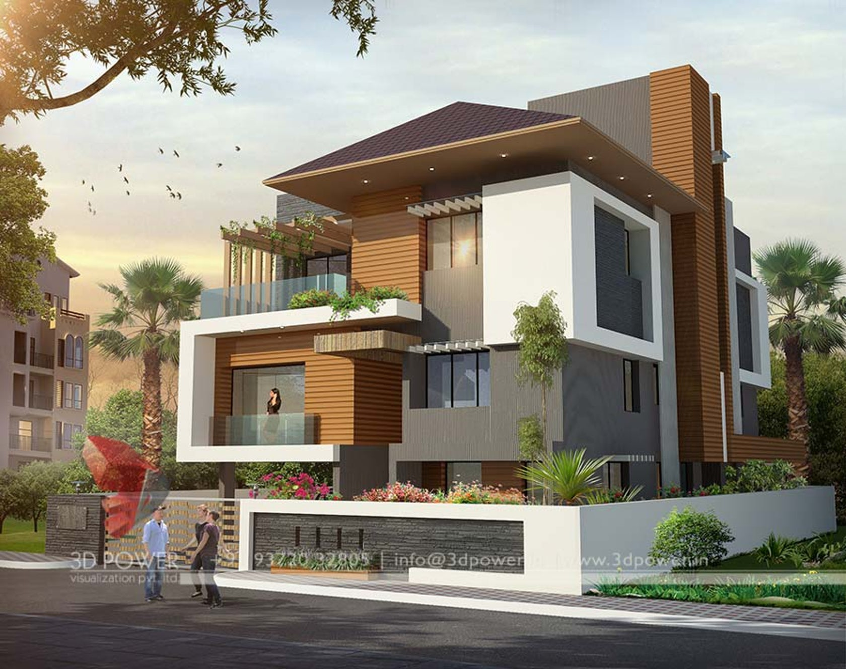3D Modern bungalow exterior day & night rendering & elevation design by 3D  Power on Architizer