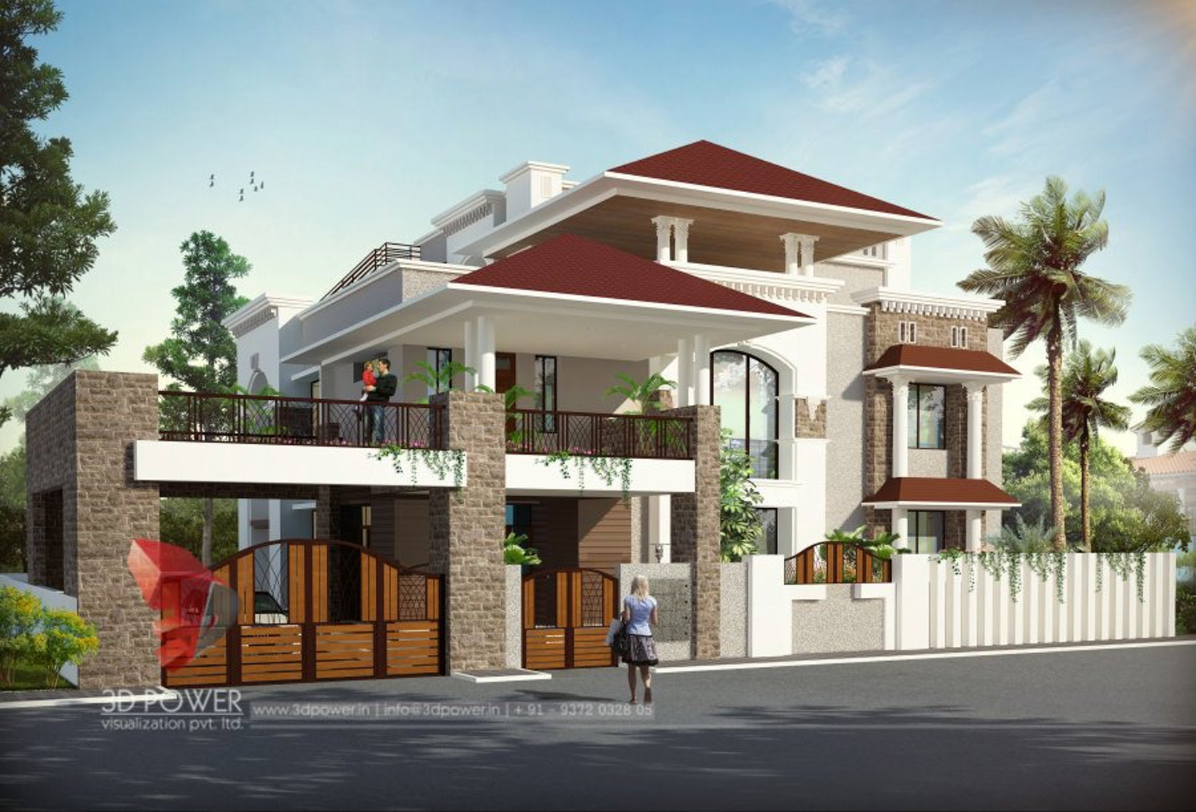 3d modern bungalow exterior day night rendering for Home design visualizer