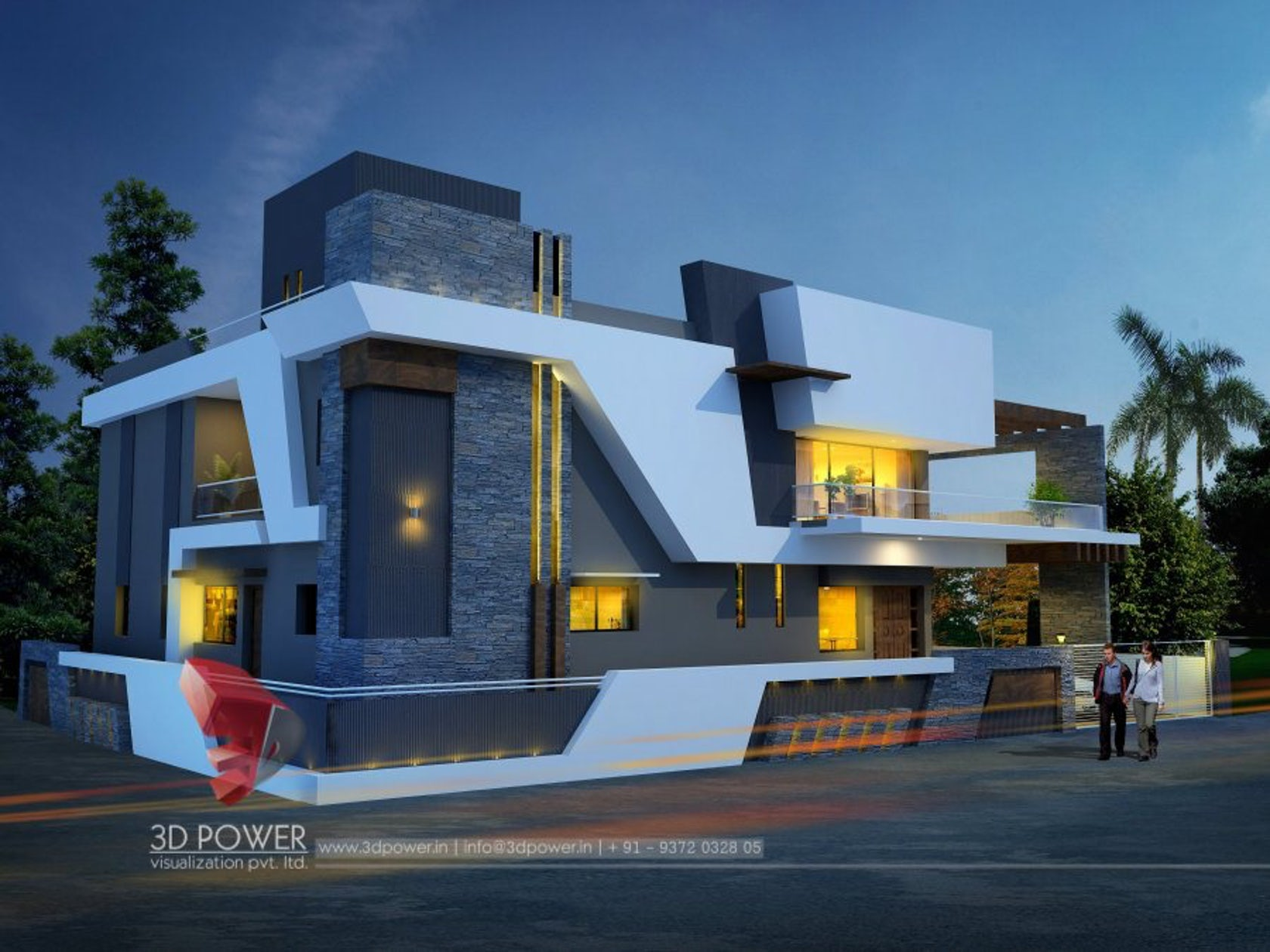 3d modern bungalow exterior day night rendering for Elevated modern house design