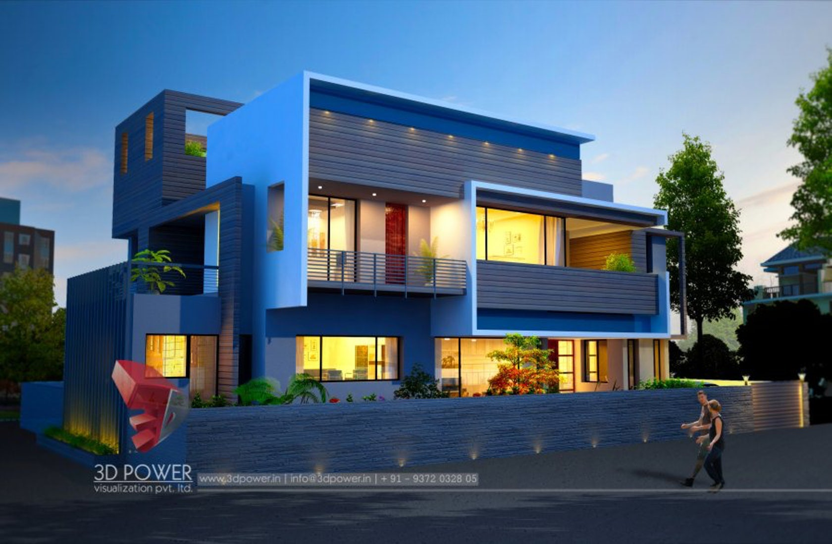 3D Modern bungalow exterior day & night rendering & elevation design ...