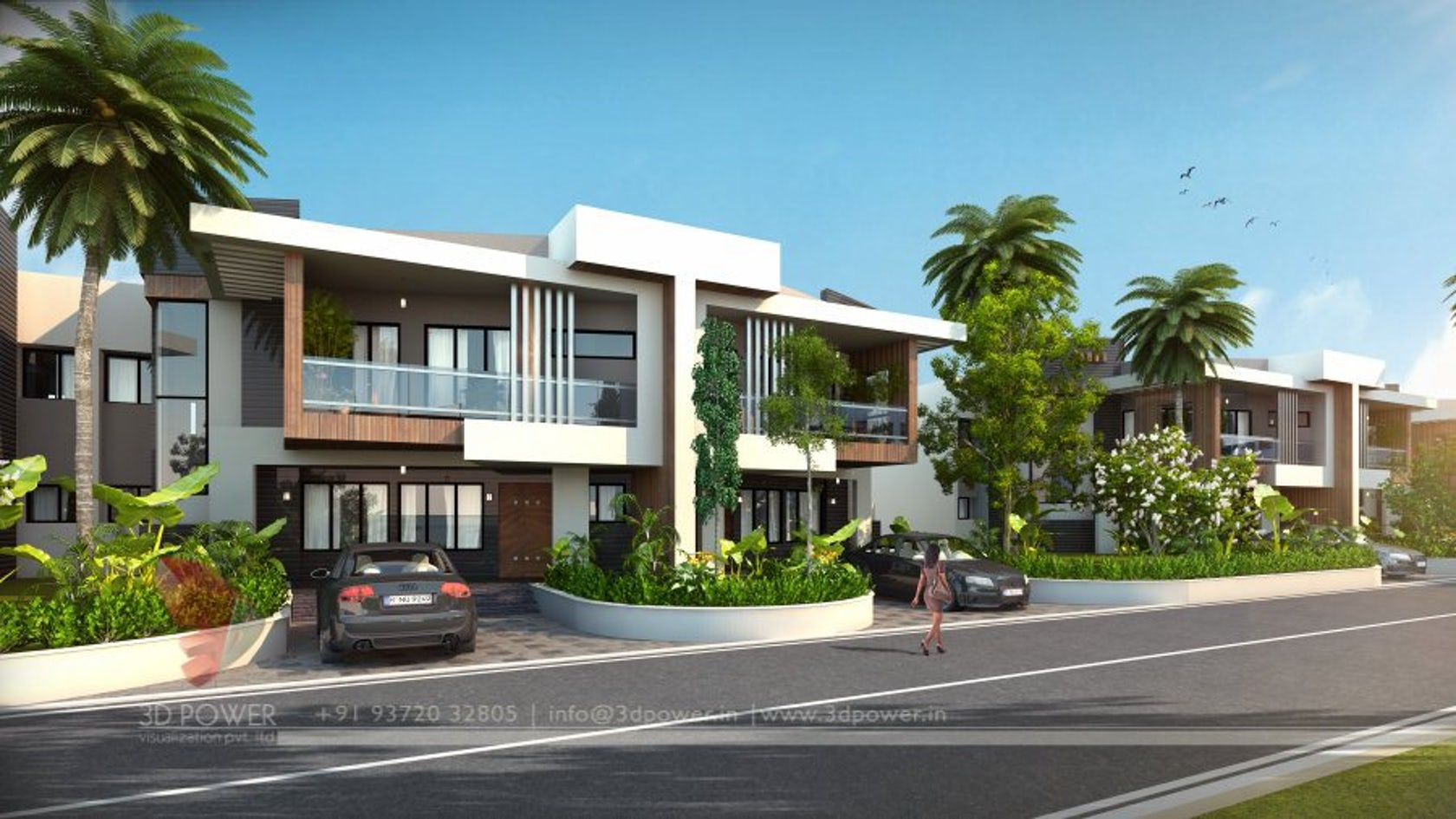 Ultra modern township exterior day rendering and elevation for Terraced house exterior design