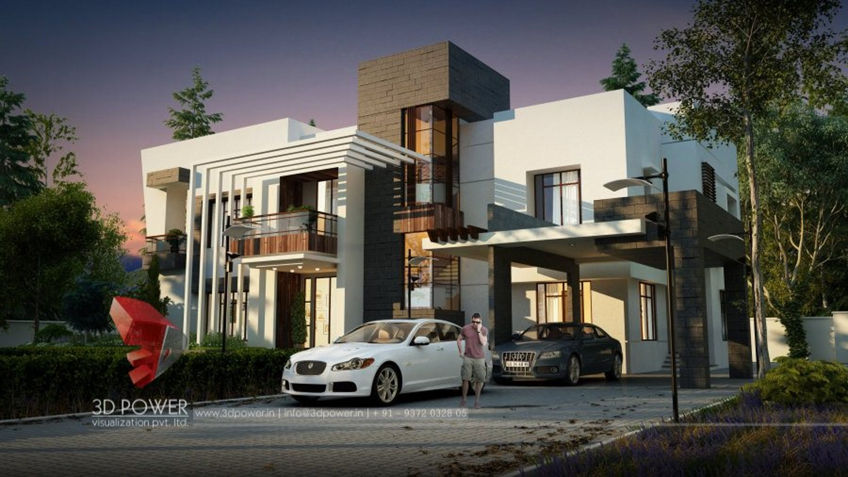 Amazing 3d modern farmhouse night renderings and design by for Modern house front view