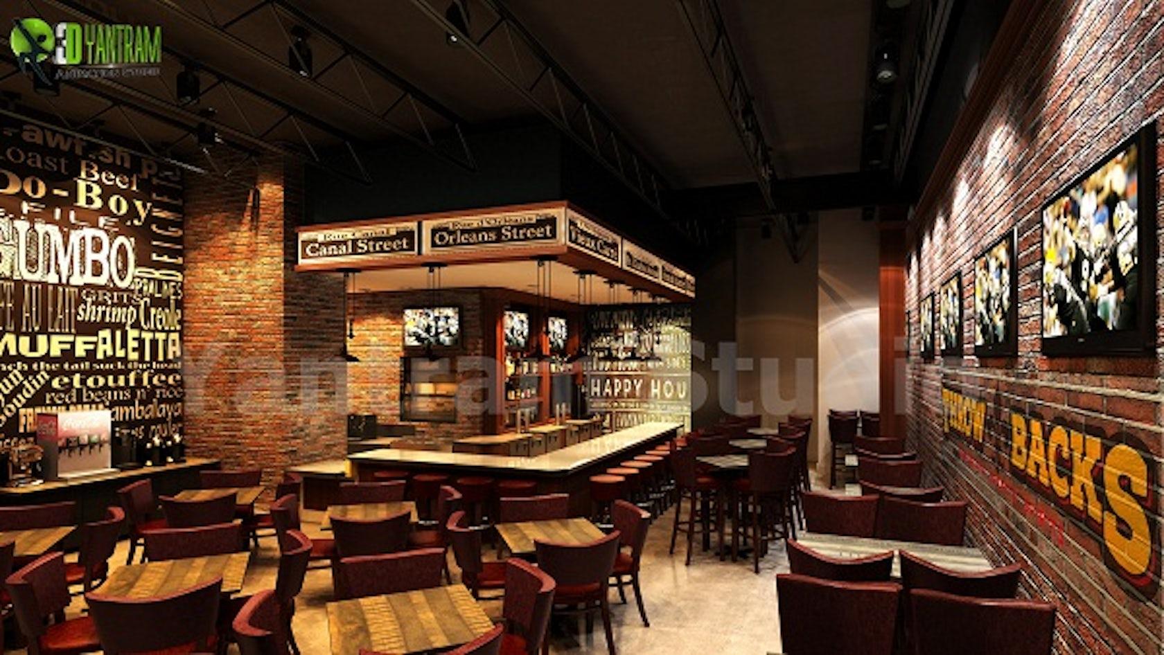 Bar restaurant 3d interior design architizer for 3d restaurant design software