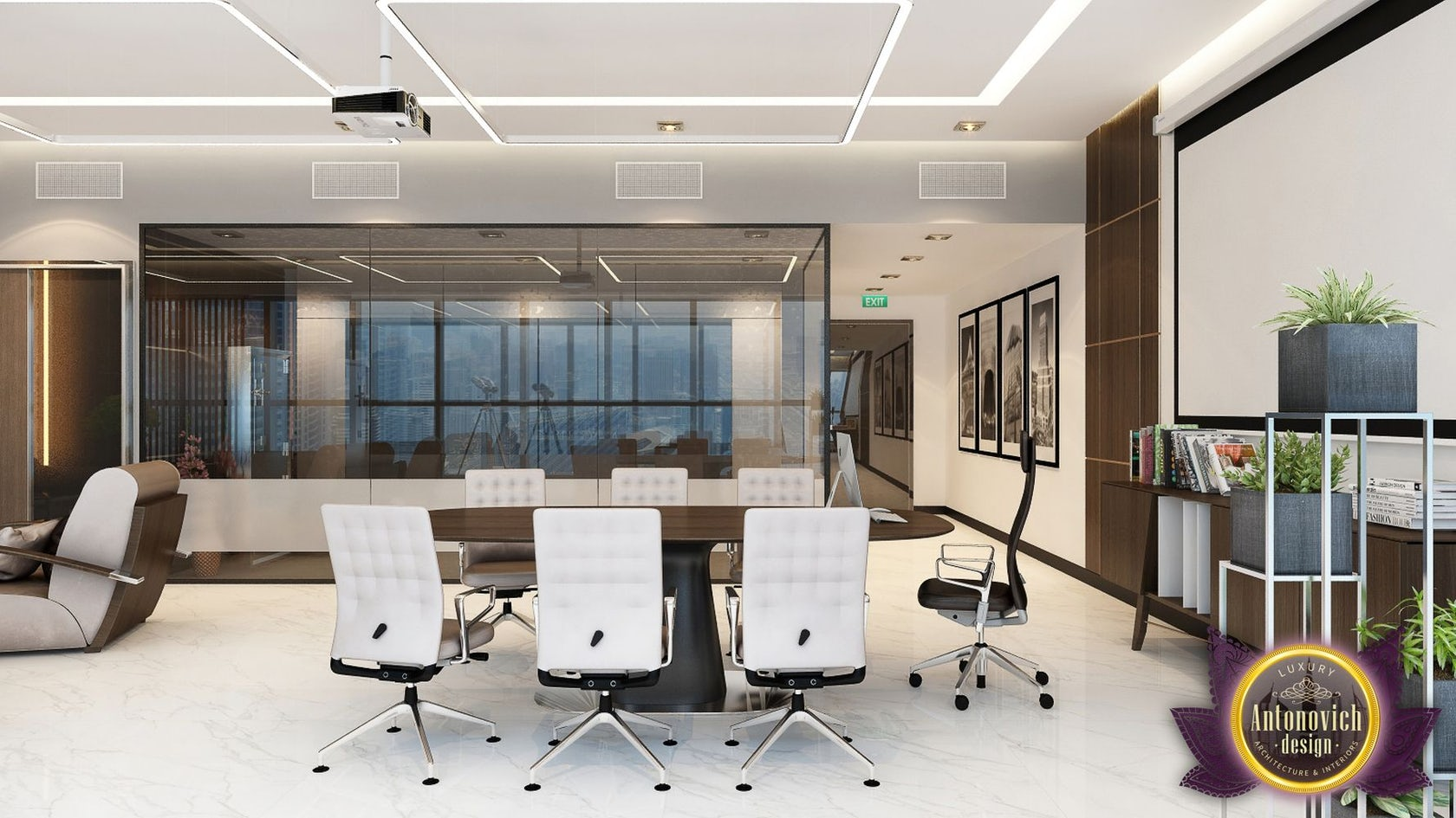 Office design in contemporary style by luxury antonovich for Office design instagram