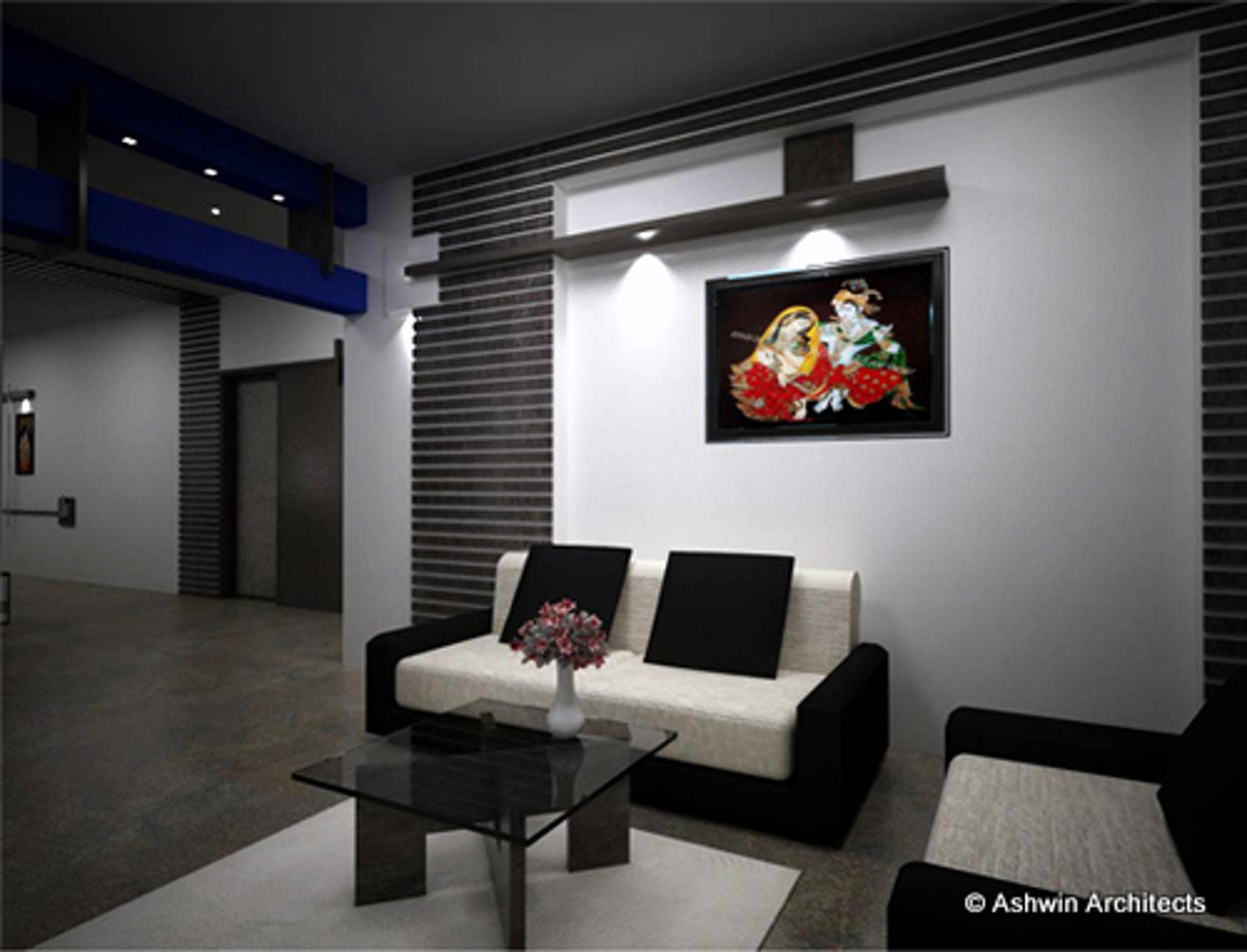 Udai s 3bhk apartment interior designs in bangalore for Living room designs india
