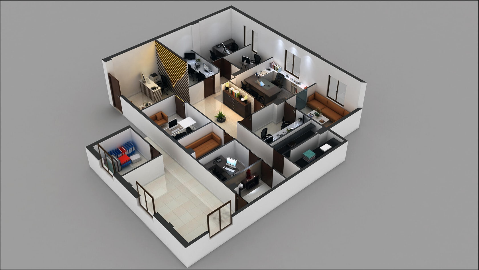 3d commercial office floor plan architizer for Office design 3d