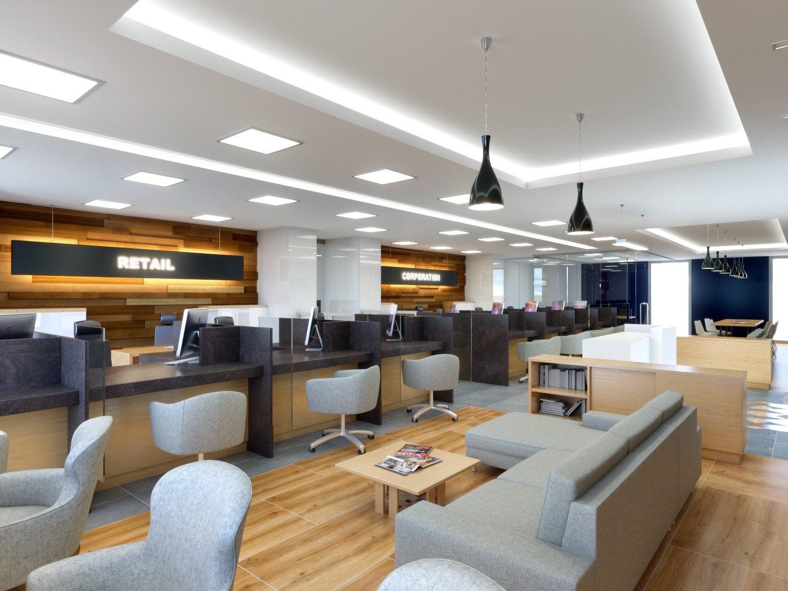 bank customer lounge interior renders