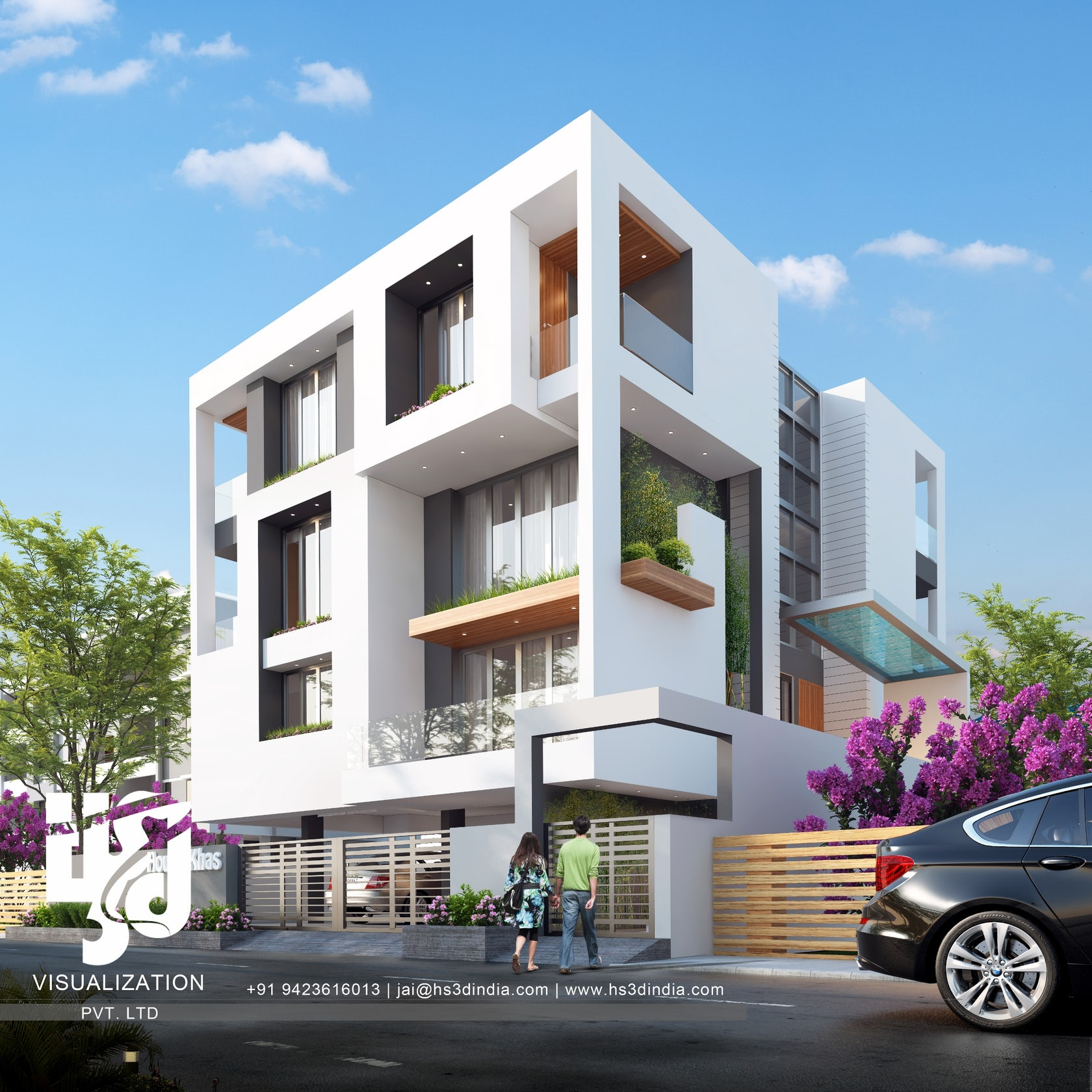 3d exterior day rendering by hs3d india architizer for Exterior 3d rendering