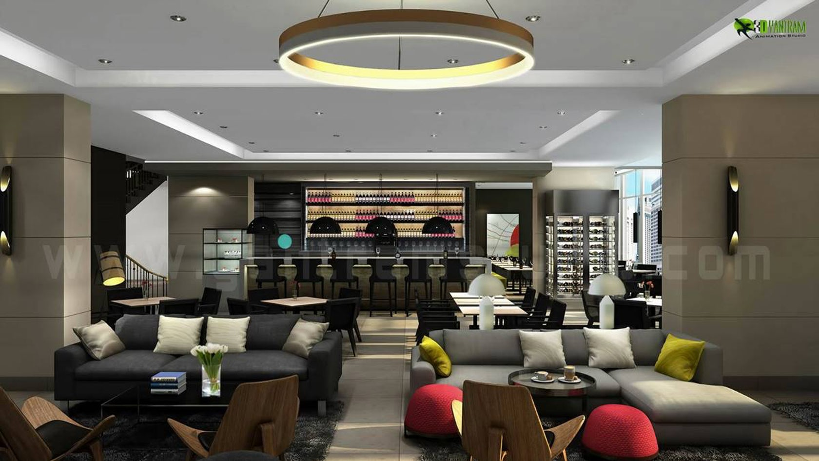 Glamorous living d hotel bar interior design view