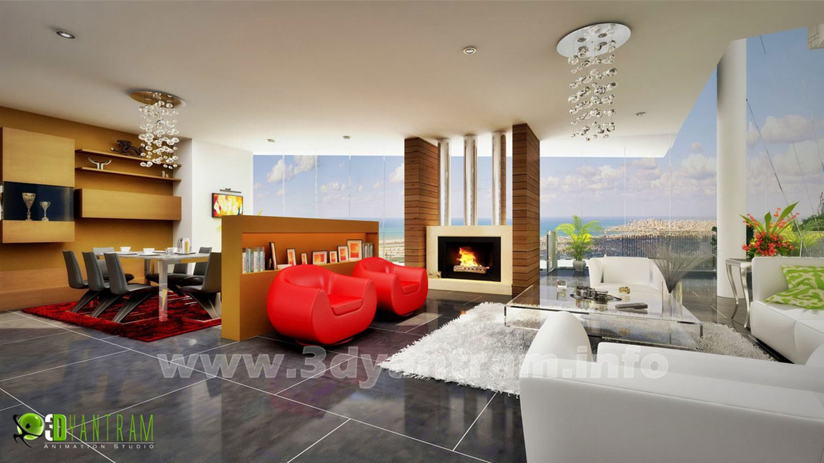 Stunning 3d living room design view architizer for Living room 3d view