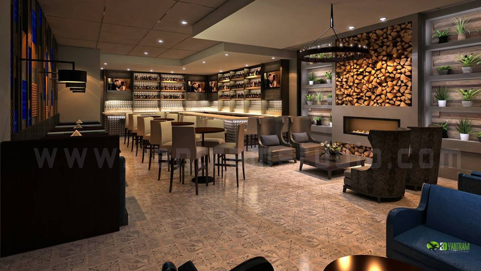 Commercial d bar interior rendering design view architizer