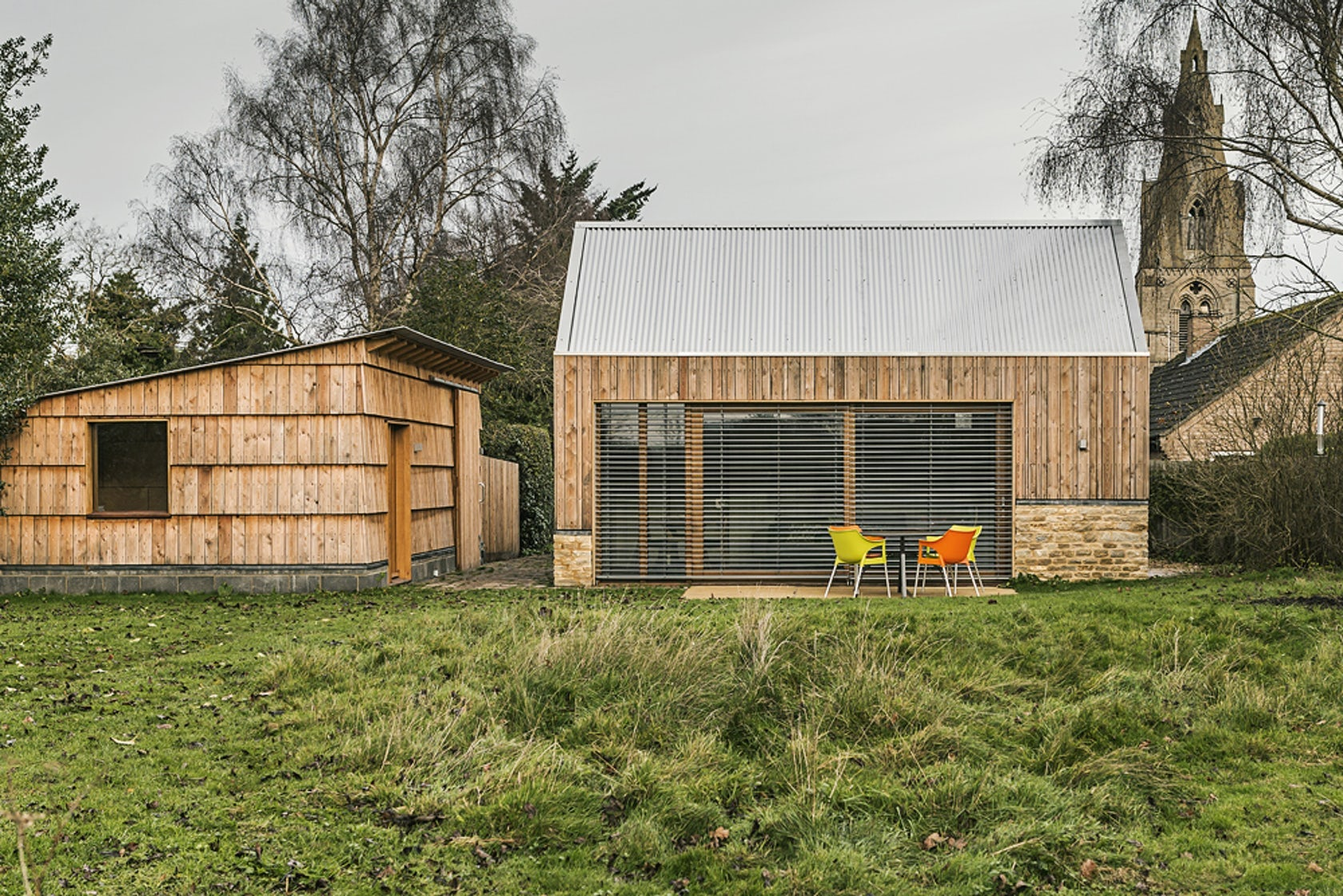 Architectural Details: An English Garden Studio Wrapped in Shingles, Steel and Stone