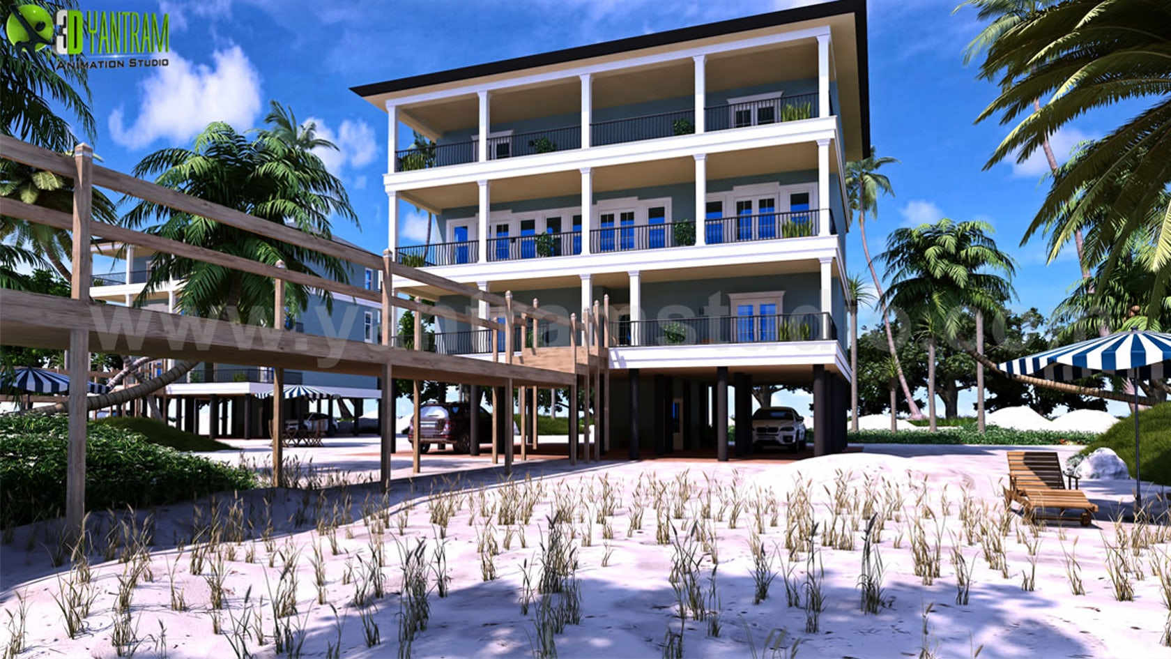 Modern 3d exterior beach house rendering perspective view for Architectural exterior design virginia beach