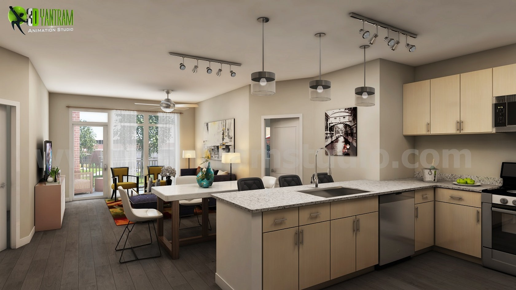 Impressive stylish residential kitchen design by yantram